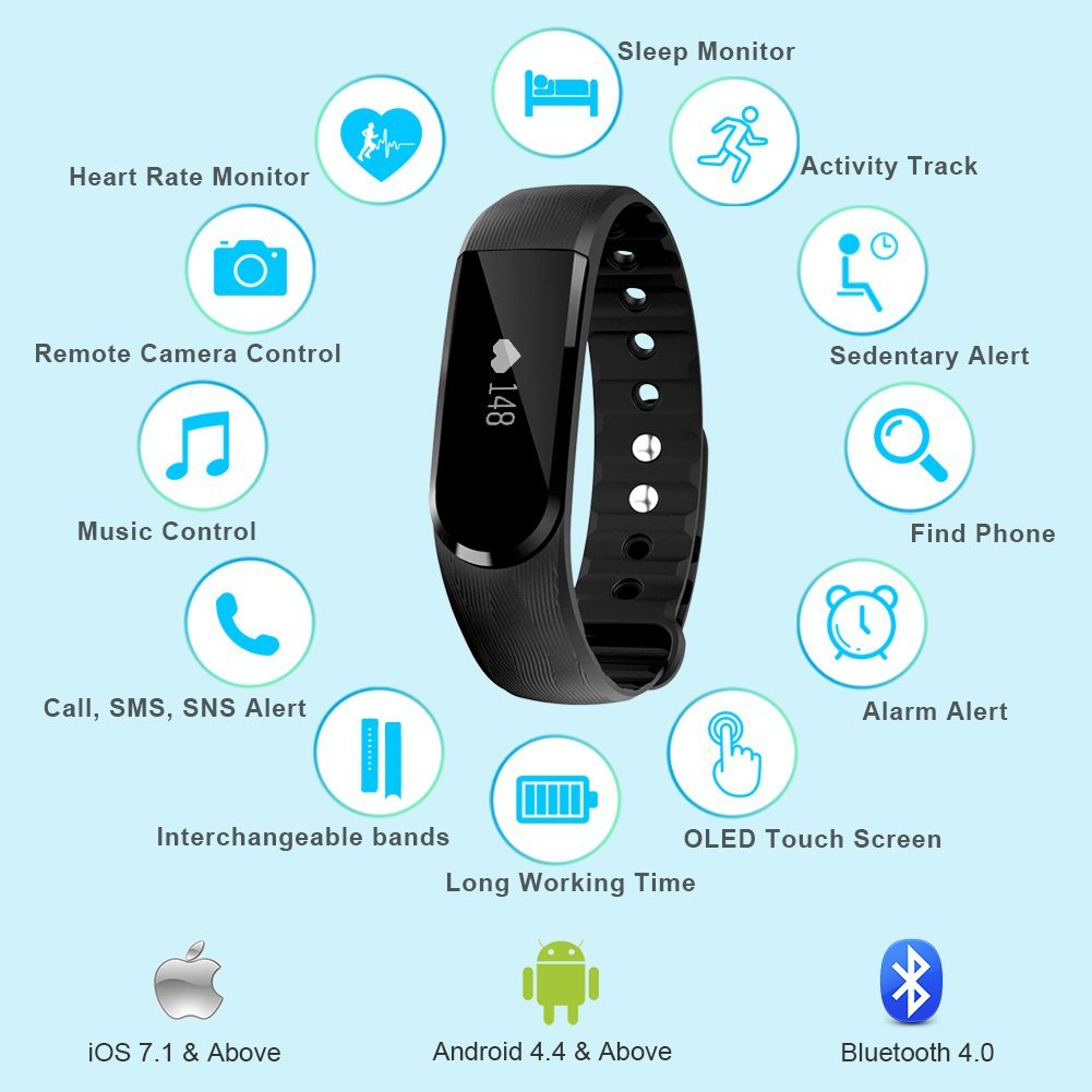 waterproof pedomete tracking bracelet watches bluetooth pin android for ios fitness hr bp watch smartband smart tracker monitor compatible