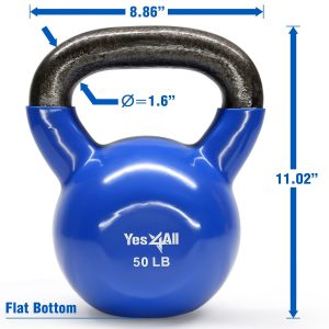 Vinyl coated kettlebell flat bottom