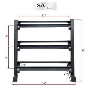 size of 3 tier dumbbell rack