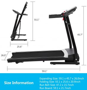 treadmill size for  home