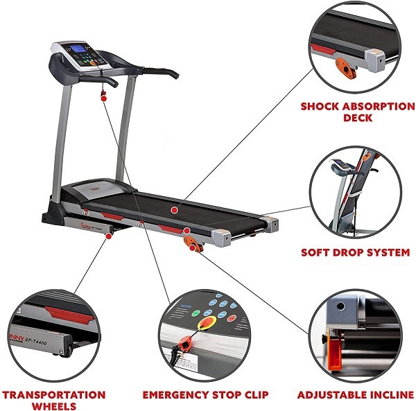 Folding treadmill with adjustable incline
